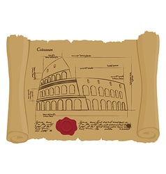 Drawing of Colosseum at Ancient scroll Retro vector image
