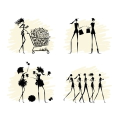 Fashion girls black silhouettes collection vector image