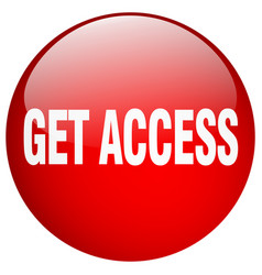 Get access red round gel isolated push button vector
