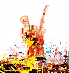 guitarist paint vector image