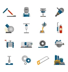 Metal-working icon flat vector