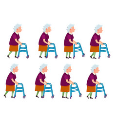 Old woman with rolling walker simple cartoon style vector