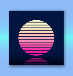 Retro sci-fi background with stylized sun vector