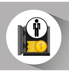Silhouette man manager economy finance box vector