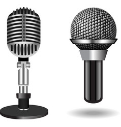 Vintage silver microphones vector image vector image