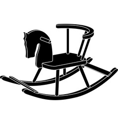 Rocking horse toy stencil vector