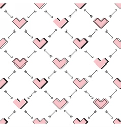 Hearts and arrows seamless pattern Robot in love vector image