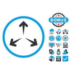 Expand arrows flat icon with bonus vector