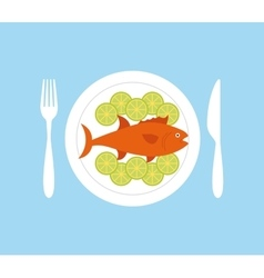 delicious sea food fish restaurant vector image