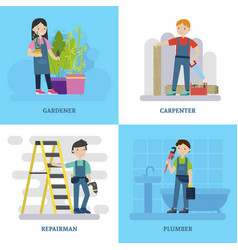 Professional workers square concept vector