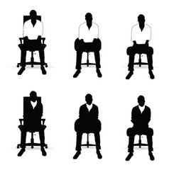 Man silhouette siting on chair in black and white vector