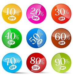Colorful discount circles set labels isolated on vector