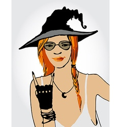 Beautiful ginger witch vector