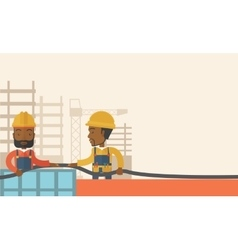 Two black young builders vector
