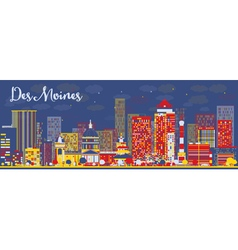 Abstract des moines skyline vector