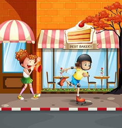 Girls playing rollerskates on the street vector
