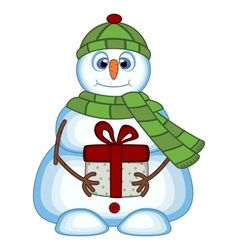 Snowman carrying a gift vector