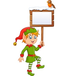 Cartoon funny elf boy holding blank sign vector