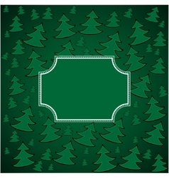 Christmas firs background and square frame vector