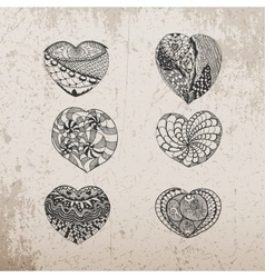Valentines day hand drawn hearts collection vector