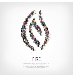 Fire people sign 3d vector