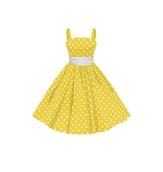 Yellow dress with white polka dots vector