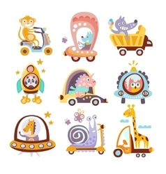 Animals and transportation fantasy drawings set vector