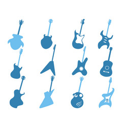 blue guitar icons set vector image