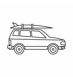 Car with luggage icon outline style vector image