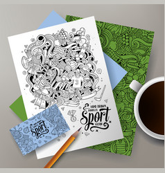 cartoon doodles sport corporate identity set vector image vector image