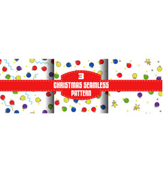 Christmas ball seamless patterns set flat outline vector