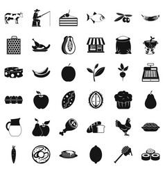Collect food icons set simple style vector