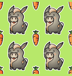cute donkey and carrot seamless pattern vector image vector image