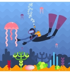 diver and jellyfish vector image vector image