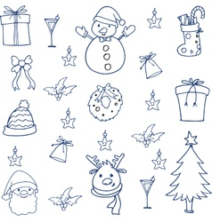Doodle of christmas set hand draw vector image vector image