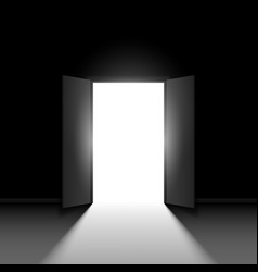double open door on black background vector image