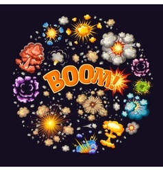 Explosions effects round design vector