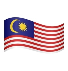 Flag of malaysia waving on white background vector