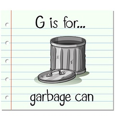 Flashcard alphabet g is for garbage can vector