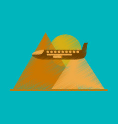 Flat icon in shading style plane in the mountains vector