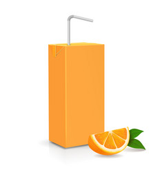 fresh ripe orange and juice carton package vector image