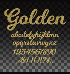gold glitter font golden alphabet with vector image vector image