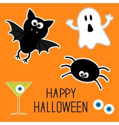 Happy Halloween set Ghost bat spider eyes martini vector image