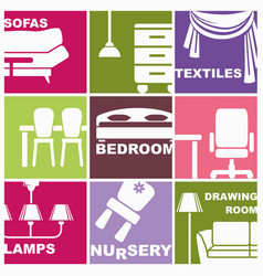icons of furniture and interiors vector image