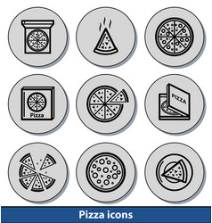 light pizza icons vector image