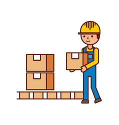 Logistic delivery man character holding parcel vector