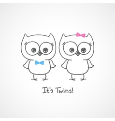 owls twins vector image vector image