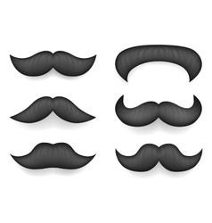 Realistic 3d Design Mustache Icon Set Template vector image vector image
