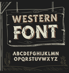 Retro western font alphabet on dark vector