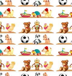 Seamless toys on shelf vector image vector image